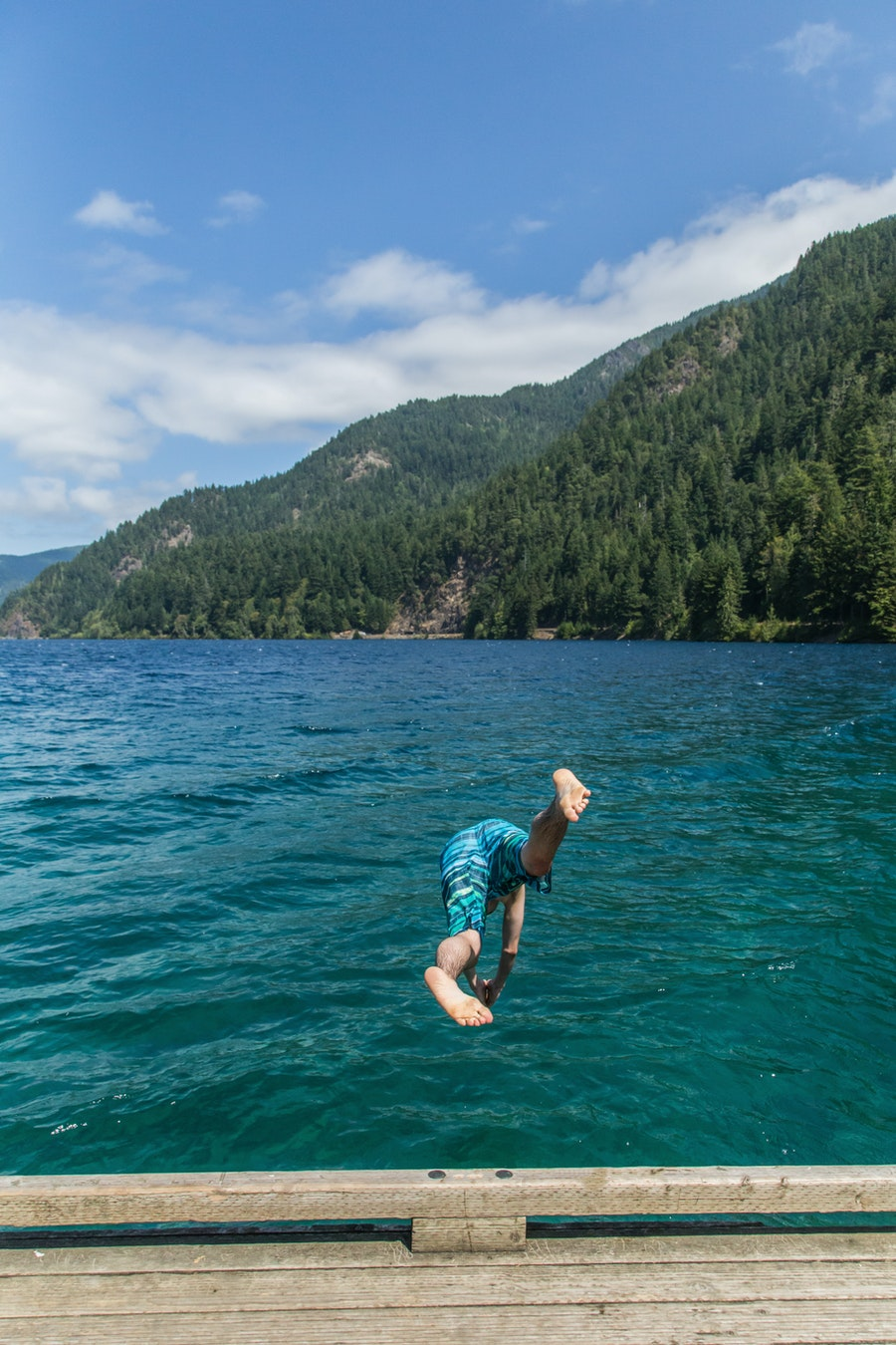 Jumping in to Lake Crescent